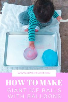 These easy to make giant ice balls are made from balloons. With such an easy setup, it's a great activity to setup for independent play! Infant Activities, Summer Activities, Family Activities, Frugal Family, Kiddie Pool, Summer Baby, Balls, Things To Do, Parenting