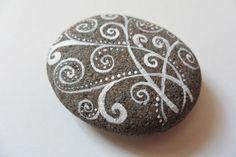 White swirls & dots - Original acrylic miniature painting on English beach pebble