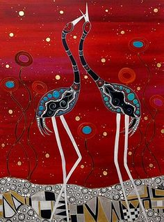 Artlandish Aboriginal Art Gallery would like to showcase this fine Aboriginal painting by Melanie Hava / Brolga Greetings is the title of the work. Aboriginal Art Australian, Aboriginal Art Animals, Aboriginal Dot Painting, Indigenous Australian Art, Aboriginal Artists, Indigenous Art, Aboriginal Culture, Art Premier, Fauna