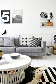 48c4db90a2 Black and white living room with Ikea sofa and warming grey, tan accents.  Love the stripe rug, bold patterns throughout. (photo by deborah moir for  amm) ...