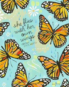She Flies With Her Own Wings by Katie Daisy #inspirational #quotes