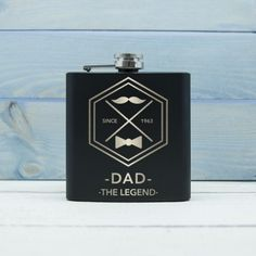 This vintage style personalied hip flask for dad is a perfect gift for Father's Day or a unique birthday or Christmas gift idea! Personalised Hip Flask, Personalized Gifts, Great Father's Day Gifts, Gifts For Him, Gadget Gifts For Men, Moustache Design, Unusual Gifts For Men, Unique Christmas Gifts, Wood Creations