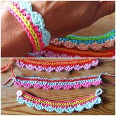 Crochet pattern for a cute colorful bracelet and knitting knit knitting crochet diy Crochet Diy, Love Crochet, Learn To Crochet, Crochet Crafts, Crochet Projects, Simple Crochet, Yarn Crafts, Crochet Ideas, Crochet Hooks