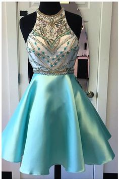 High Neck Rhinestones Turquoise Homecoming Dress Short Prom Dresses Graduation Gowns LD343