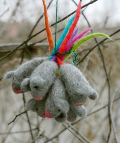 Little handmade felted mice with colored tail - set of two toys for cats.