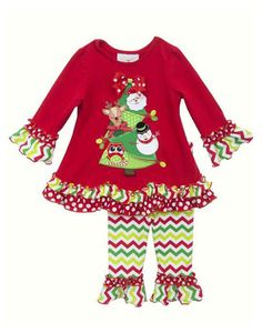 5cb497ed493a Rare Editions Baby Girl Chevron Christmas Holiday Friends months)  Adorable Christmas  Pant Set by Rare Editions! Your infant girl will enjoy this festive ...