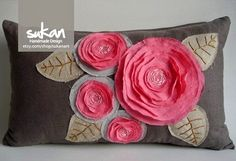 Sukan / Pink Flowers Pillow Cover inch by sukanart on Etsy Sewing Pillows, Diy Pillows, Decorative Pillows, Throw Pillows, Flower Embroidery Designs, Silk Ribbon Embroidery, Fabric Flowers, Pink Flowers, Brown Pillow Covers