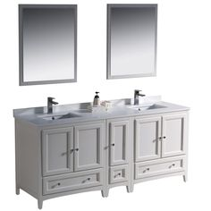 Fresca Oxford 72-inch Antique White Traditional Double Sink Bathroom Vanity with Side Cabinet