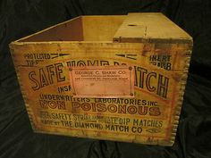 Antique 1920's vintage DIAMOND MATCH Co Safe Home Match Safety Matches BOX Crate