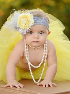 Yellow Ruffle Ranuculus Flower with Rhinestone Bling Center with Silver Feathers and Lace Bow on Silver Lace Headband M2M Persnickety on Etsy, $28.00