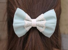 Blue with Lace Bow, Hair Bow for teens, hair bows, lace bows, lace hair bows on Etsy, $4.40 AUD