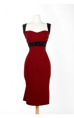 Jessica Wiggle Dress in Burgundy with Black Trim by Pinup Couture - Dresses - Clothing | Pinup Girl Clothing