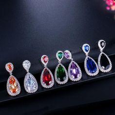 Classic Water Drop Ruby Amethyst Zircon Drop Earrings For Women 925 Sterling Silver Silver Drop Earrings, Women's Earrings, Fashion Earrings, Fashion Jewelry, Silver Bridal Jewellery, Jewelry Rings, Fine Jewelry, Silver Certificate, Shape Patterns