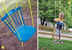 9 DIY Outdoor Swing and Hammock Projects- love the chair. I have at least 2 of those chairs with broken legs... Maybe attach them to make a bench swing?