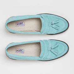 Be chic and unique with the beautiful and unusual hue of Milan. Our signature loafers are available for only £145! https://pastelsixteen.com/collections/women/products/milan #Milan #Loafers #Women #Ladies #Fashion #Stylish #Sophisticated #Mintgreen #Leather #Suede #Green #Flatshoes #Classics