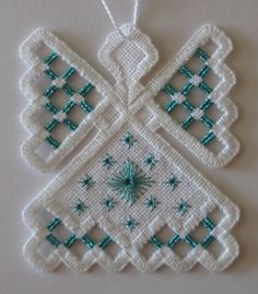 Hardanger Angel Ornament  Aquamarine Blue by twistedthreads, $11.00