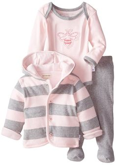 Burt's Bees Baby Baby-Girls Newborn Organic Applique Bee Bodysuit Footed Pant and Reversible Hooded Jacket, Blossom, size newborn