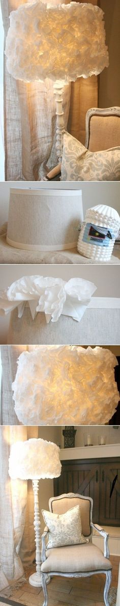 DIY Coffee Filter Lamp Shade cup the filter gently in between your index finger and thumb and then apply hot glue to the end of the filter. Then quickly attach the coffee filter it to the lamp shade. Place them as close as possible. Room Deco, Creation Deco, Home And Deco, Lamp Shades, Home Projects, Diy Furniture, Diy Home Decor, Sweet Home, Diy Crafts