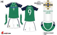 Northern Ireland home kit for Euro 2016.