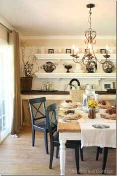 The Old Painted Cottage - Dining table decorated for Fall