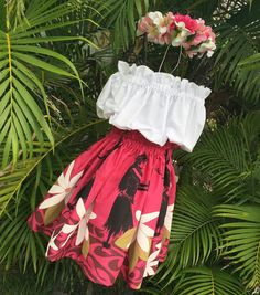 Girls Hawaiian Hula Pa'u Skirt set hula dancer by HotLavaClothing