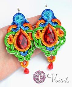 Soutache Jewelry. Artystyczna Biżuteria Autorska Katarzyna Wojtak: #0042 Loros Alegres . Kolczyki sutasz.