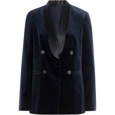 Brunello Cucinelli Cotton Velvet Blazer (€1.949) ❤ liked on Polyvore featuring outerwear, jackets, blazers, blue, blue double breasted jacket, blue blazer jacket, brunello cucinelli jacket, blue blazer and long sleeve jacket