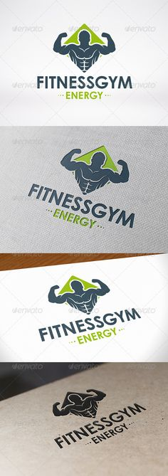 Fitness Gym Logo Template .This image is available on GraphicRiver.       - Three color version: color, greyscale and single color.   - The logo is 100% resizable.   - You can change text and colors very easy using the named and organized layers that includes the file.   - The typography used is Century Gothic a system default font.
