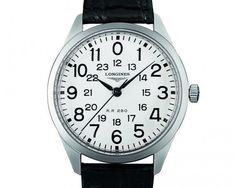 """The original @longineswatches Railroad watch - its dial is marked with the letters """"RR,"""" followed by the caliber number – """"280.""""  This 1960s model was developed for railway men, replicating the important elements of high precision and legibility.  More @ http://www.watchtime.com/wristwatch-industry-news/watches/history-boys-three-new-longines-heritage-watches/ #longines #watchtime #vintagewatches #Baselworld2016"""