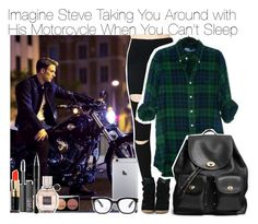 """""""Imagine Steve Taking You Around with His Motorcycle When You Can't Sleep"""" by fandomimagineshere ❤ liked on Polyvore featuring Coach, Forever 21, Bobbi Brown Cosmetics, NARS Cosmetics, Elizabeth Arden and Viktor & Rolf"""