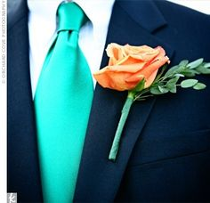 The guys look. Navy suite. Teal tie. Peach/Salmon flower. Ivory shirt.