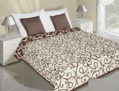Krémově hnědý přehoz na postel oboustranný květiny Hotel Bed, Bed Sets, Bedding Sets, Comforters, Ornament, Quilts, Luxury, Furniture, Design