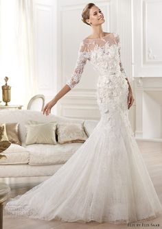elie by elie saab 2014 cignus three quearter sleeve wedding dress