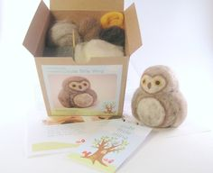 needle felting kit ~ cute diy craft to make ~ cute little barn owl by @cutelittlething.com ~ $18