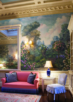 A brilliantly colored mural by artist Susan Harter at the College Club | #DesignLUX Gets Hung Up on Murals