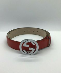 922c8aae533 Men s Authentic Red Leather Gucci Double G interlocking Buckle Belt Size  85cm  fashion  clothing