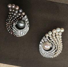 Virem bhagat earrings, natural pearl, showcased by FD gallery. tefaf