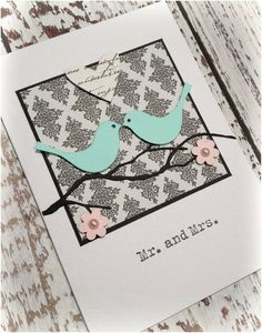 Handmade Wedding Card - Mr and Mrs love birds - by LittleThings on madeit www.madeit.com.au/littlepaperstand
