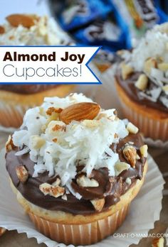Almond Joy Cupcakes! Would use ganache instead of chocolate frosting, no almonds, toasted coconut #cupcakes #cupcakerecipes #almondjoys