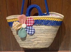 cesta-capazo chic cesta-capazo de palma,tejidos cordón trapillo,botón tira de bolillos cestería cosido a mano