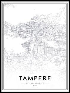 Merkinnät Tampereen kartan mustavalkoisena sisustuksen