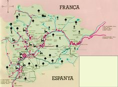 Andorra is located in a valley in the Pyrenees Mountains between