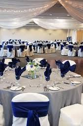 white chair covers with blue bows wedding elegant - Google Search