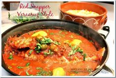 Veracruz Style Red Snapper, A delicious and elegant dish that's perfect for a nice dinner. Visit our site to check out the full recipe. When you visit Veracruz, your feast will start in the north with some zacahuil and bocoles, continue to the fried fish and seafood soups from Tuxpan...
