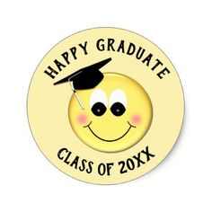 Personalized Graduation Cap Smiley Emoji Classic Round Sticker - college stickers unique design cool sticker present gift