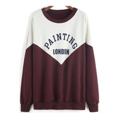 SheIn(sheinside) Colour-block Round Neck Letters Print Sweatshirt (600 UYU) ❤ liked on Polyvore featuring tops, hoodies, sweatshirts, sweaters, multicolor, color blocked sweatshirt, pullover sweatshirt, cotton sweatshirts, purple pullover and colourblock sweatshirt