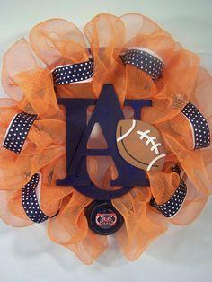 Auburn Tigers mesh wreath by HaloDesignInteriors on Etsy