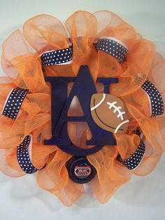 football wreath - This may be a great look for March Madness. In GREEN and WHITE of course.