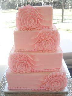 4 Tier Square Cake By Levonne's Unique Cakes--San Antonio - http://www.levonnesuniquecakessa.com - (cakecentral)