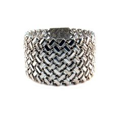 Bracelet - Beaded Wide Silver Herringbone with Polished Silver Magnetic Clasp, Silver Herringbone Bracelet, Silver Bracelet, FREE SHIPPING by PeggyGsBaubles on Etsy